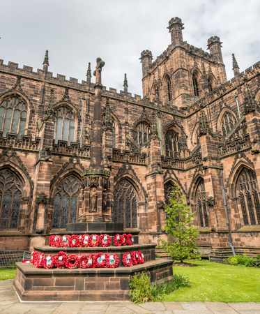 Chester Cathedral is landmark of Chester city, England, outstanding with Gothic architecture stonework exteriorly.