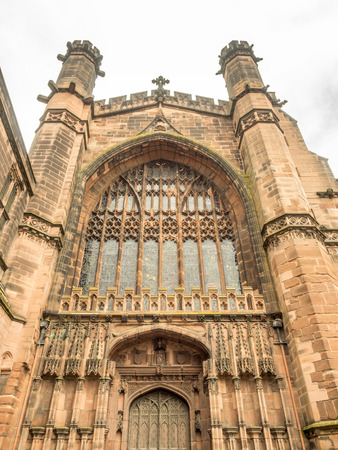 stonework: Chester Cathedral is landmark of Chester city, England, outstanding with Gothic architecture stonework exteriorly.