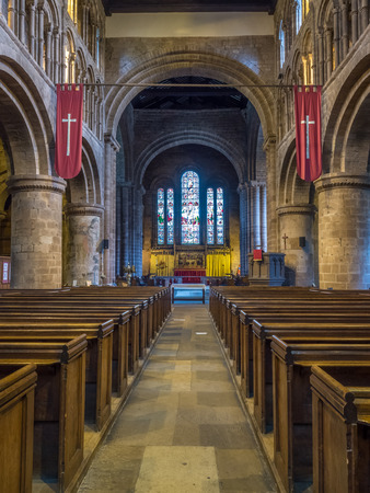 chester: CHESTER - MAY 20 : Interior decoration and architecture of Parish Church of Saint John the Baptist Chester, in Chester city, England, was taken on May 20, 2016.