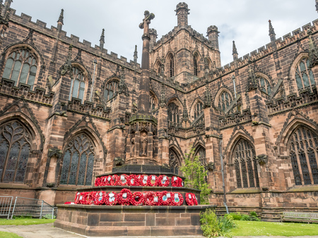 chester: Chester Cathedral is landmark of Chester city, England, outstanding with Gothic architecture stonework exteriorly.
