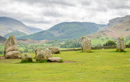 neolithic: Castlerigg stone circle in Keswick, Cumbria, England, was constructed from prehistoric era, during the Late Neolithic and Early Bronze Ages, under cloudy sky.