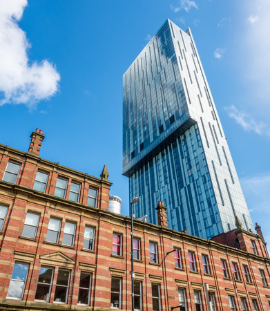 MANCHESTER - MAY 22: Beetham tower, the tallest building in UK outside London, is landmark of Manchester city, England, under cloudy sky on May 22, 2016.