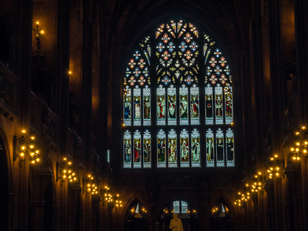 MANCHESTER - MAY 22: Stained glass decoration of John Rylands Library, part of University of Manchester, was taken on May 22, 2016, in Manchester city, England. 스톡 콘텐츠
