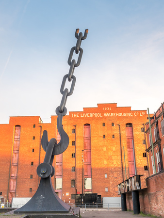MANCHESTER - MAY 22: Giant 18 meters high steel sculpture of a hook and chain link, Skyhooks Industrail sculpture, at Victoria warehouse in Manchester city, England, was taken on May 22, 2016.