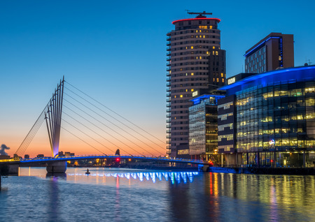 foot bridges: MANCHESTER - MAY 22: Foot bridge cross Manchester ship canal, connecting between BBC Media City, ITV studio buildings and Imperial War Museum at Salford quays in Manchester city, England, under twilight sky, on May 22, 2016. Editorial