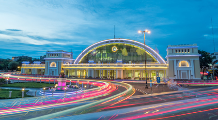 BANGKOK - JULY 24 : Centennial celebration of Hualampong, the central train station in Bangkok, Thailand,with night light decoration under cloudy twilight sky, on July 24, 2016.
