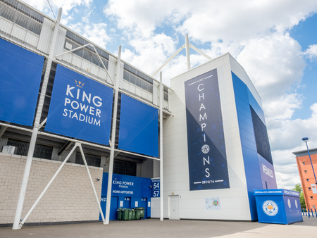 leicester: LEICESTER - MAY 23: King Power Stadium, home stadium of Leicester city football club, the champion premier league team seaason 2015-2016, under cloudy sky, was taken on May 23, 2016.