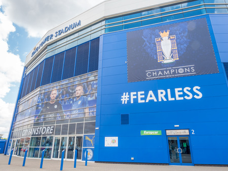 LEICESTER - MAY 23: King Power Stadium, home stadium of Leicester city football club, the champion premier league team seaason 2015-2016, under cloudy sky, was taken on May 23, 2016.