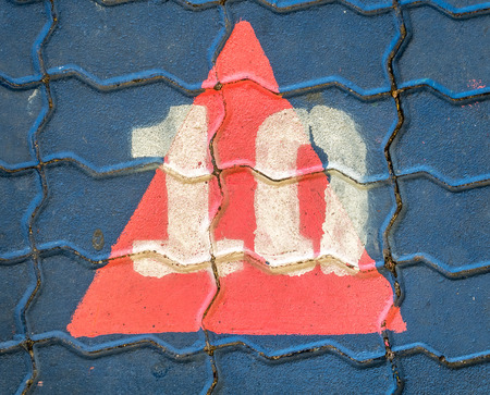 numero diez: Number ten cover with triangle paint on floor blocks