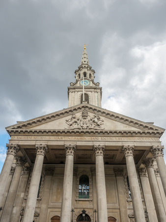 Front view of Saint Martin-in-the-Fields, English Anglican church at the north-east corner of Trafalgar Square, in London, England, was constructed in a Neoclassical design