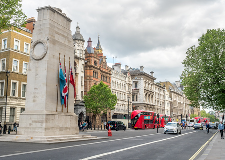 empty tomb: LONDON - MAY 24: The Cenotaph, empty tomb, at center of Parliament street in London, England, was taken on May 24, 2016. Editorial