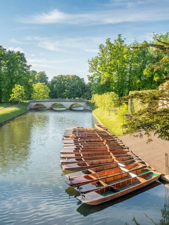 CAMBRIDGE - MAY 23: Wooden punts in Cam river for student stroking in Cambridge, England, on May 23, 2016. 에디토리얼