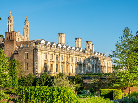 great hall: Clare college great hall and gardens view from Cam river under blue sky in Cambridge, England