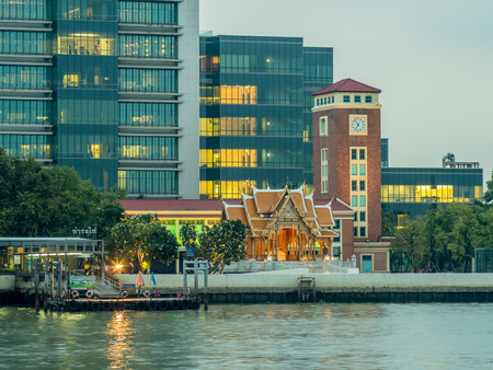 medical school: Siriraj Hospital, the first hospital and medical school in Thailand, located along Chaophraya river in Bangkok, under cloudy evening sky