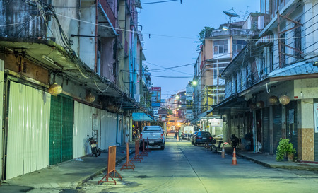 eviction: BANGKOK - SEPTEMBER 20: Woeng Nakorn Kasem, the old town music shop arcade, was evicted from new owner, abandoned building under twilight mood, Bangkok, Thailand, on September 20, 2016.