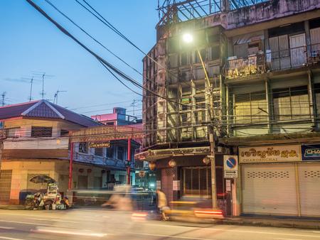 eviction: BANGKOK - SEPTEMBER 20: Woeng Nakorn Kasem area was evicted from new owner, abandoned building under twilight mood, Thai letters is arcade name, Bangkok, Thailand, on September 20, 2016.