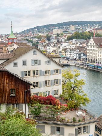 zurich: ZURICH - OCTOBER 8: View of Zurich city from Lindenhof hill in Zurich, Switzerland, on October 8, 2016. Editorial