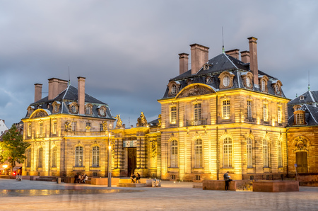frence: Museum of Fine Arts in Strausbourg in France, under cloudy sky in twilight time