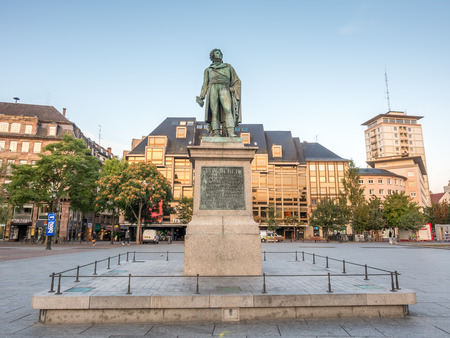 ber: STRASBOURG - OCTOBER 10: Statue of Jean-Baptiste Kléber at Place Kléber, the largest square in Strasbourg, France, on October 10, 2016.