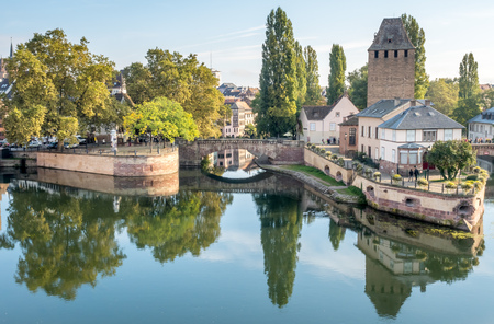 View from the Barrage Vauban with the medieval bridge Ponts Couverts, three bridges and four towers on the River Ill Strasbourg in France