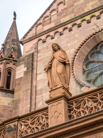 freiburg: Sculpture of Mother Mary at corridor of Freiburg minster cathedral in Freiburg, Germany