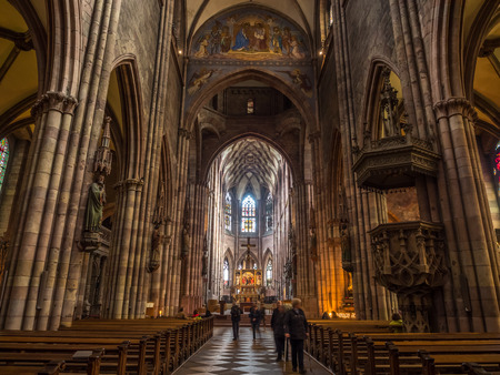 freiburg: FREIBURG - OCTOBER 10: Beautiful interior decoration and design of Freiburg Minster cathedral in Freiburg, Germany, on Ocotober 10, 2016.