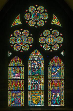 freiburg: FREIBURG - OCTOBER 10: Beautiful colorful stained glass window of Freiburg, Germany, on October 10, 2016.