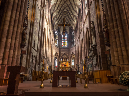 FREIBURG - OCTOBER 10: Beautiful interior decoration and design of Freiburg Minster cathedral in Freiburg, Germany, on Ocotober 10, 2016.