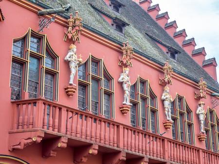 freiburg: Corridor and statues of Historisches Kaufhaus (Historic building) in Freiburg, Germany