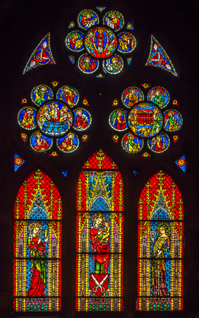 FREIBURG - OCTOBER 10: Beautiful colorful stained glass window of Freiburg, Germany, on October 10, 2016.
