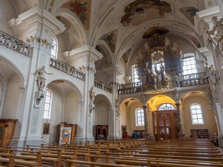FREIBURG - OCTOBER 10: Interior architecture of Abbey of Saint Peter of Schwarzwald (Black Forest) in Freiburg, Germany, on October 10, 2016. Editorial