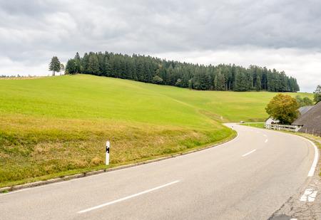 Rural scene along road in Schwarzwald (Black Forest) in Germany in rainy season under cloudy sky