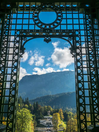 ETTAL - OCTOBER 12 : Garden outdoor pavilion in Linderhof palace garden surrounded with natural landscpae view in Ettal municipality, Bavaria state, Germany, on October 12, 2016. Editorial