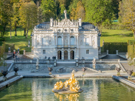 ETTAL - OCTOBER 12 : Linderhof palace was built by King Ludwig II of Bavaria in Ettal municipality, Bavaria state, Germany, decorated with beautiful elegant architecture, was taken on October 12, 2016.