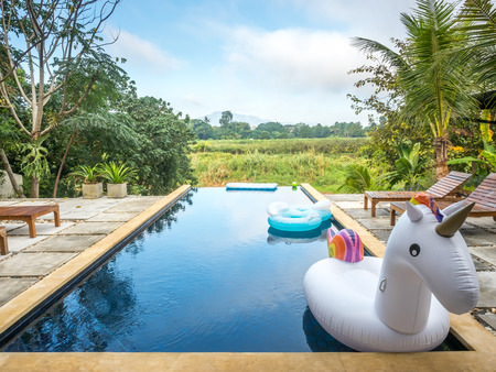 Unicorn swim tube on outdoor swimming pool with grass field and sky for background
