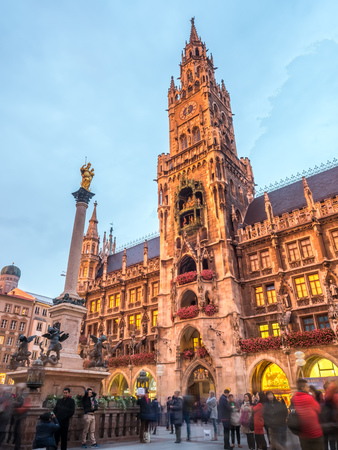 MUNICH - OCTOBER 14 : New Town Hall, known as Neues Rathaus, at Northern of Marienplatz, center of Munich, Germany, on October 14, 2016.