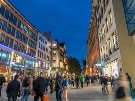 MUNICH - OCTOBER 14 : Kaufinger street, pedestrian walking street, one of the oldest street in Munich, Germany, on October 14, 2017.