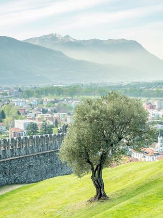 Castello di Montebello in Bellinzona city in Switzerland, surrounding with mountain, forests and impressive landscape view, under cloudy blue sky Editorial