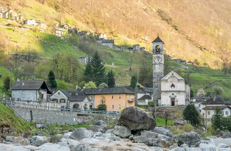 angeli: The Parish church of Madonna degli Angeli along Vercasca river in Lavertezzo city, Switzerland, one of the landmark of Locarno Stock Photo