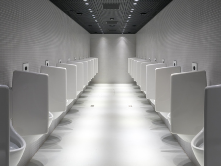 urination: Designed urination device and modern architecture in male toilet