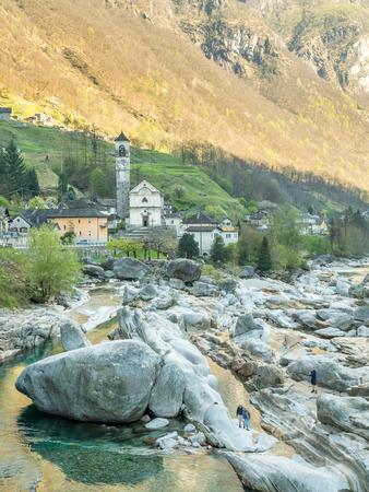 angeli: LAVERTEZZO - APRIL 7 : The Parish church of Madonna degli Angeli along Vercasca river in Lavertezzo city, Switzerland, on Aprial 7, 2017. Editorial