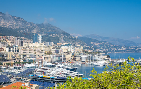 formula one: MONACO - APRIL 8 : Cityscape of skyscraper buildings and coastline in Monaco, Monaco, on April 8, 2017. Monaco is the second smallest and the most densely populated country in the world. Editorial