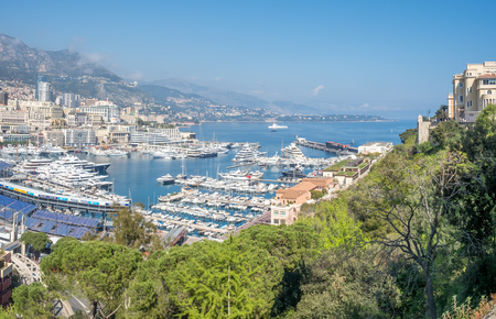 MONACO - APRIL 8 : Cityscape of skyscraper buildings and coastline in Monaco, Monaco, on April 8, 2017. Monaco is the second smallest and the most densely populated country in the world. Editorial