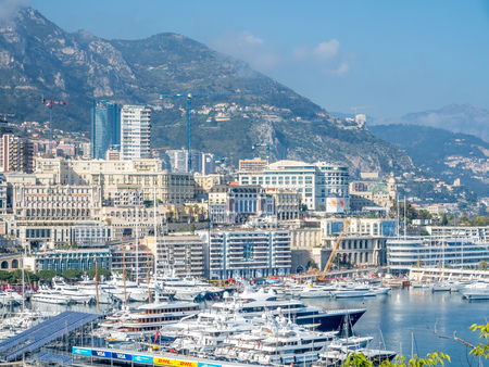 MONACO - APRIL 8 : Cityscape of skyscraper buildings and coastline in Monaco city, Monaco, on April 8, 2017. Monaco is the second smallest and the most densely populated country in the world. Editorial