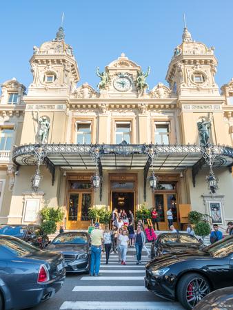 MONACO - APRIL 8 : Super and luxury cars at entrance of Casino Monte Carlo, landmark of capitalism, in Monte Carlo district, Monaco, on April 8, 2017. Editorial