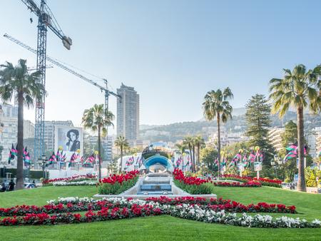MONACO - APRIL 8 : Colorful flowers decorated garden at front of Casino de Monte Carlo in Monaco, on April 8, 2017. Editorial