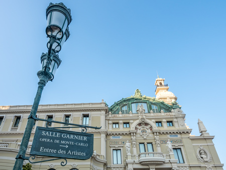 MONACO - APRIL 8 : Rear building architecture of Casino de Monte Carlo in Monaco, on April 8, 2017.