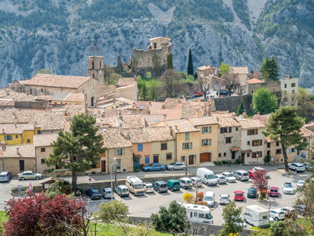 The Gréolières village on plateau among mountains in France, scenic viewpoint landmark of road trip in France