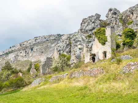Ruined buildings of The Gréolières village in France