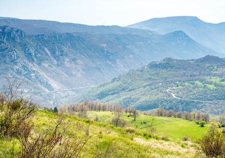 commune: The Gréolières village on plateau among mountains in France, scenic viewpoint landmark of road trip in France